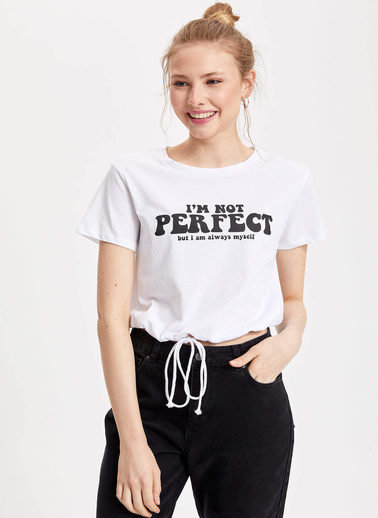 DeFacto Yazı Baskılı T-shirt Beyaz